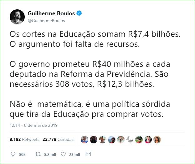 Boulos diz que corte de R$7,4 bi na educação é POLÍTICA SÓRDIDA já que o governo prometeu R$12,3bi para deputados por Reforma na Previdência