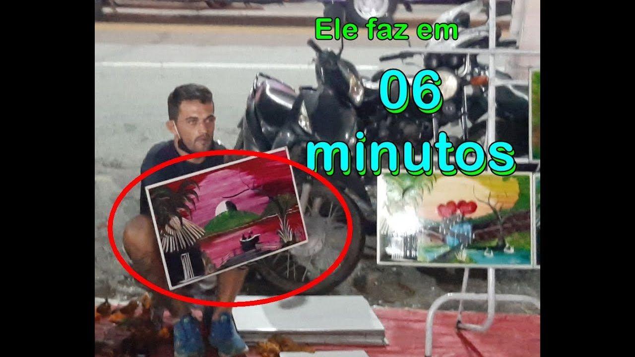 Ele faz um quadro em APENAS 6 MINUTOS. Em CALDAS NOVAS / GO artista surpreende na Av Orcalino Santos