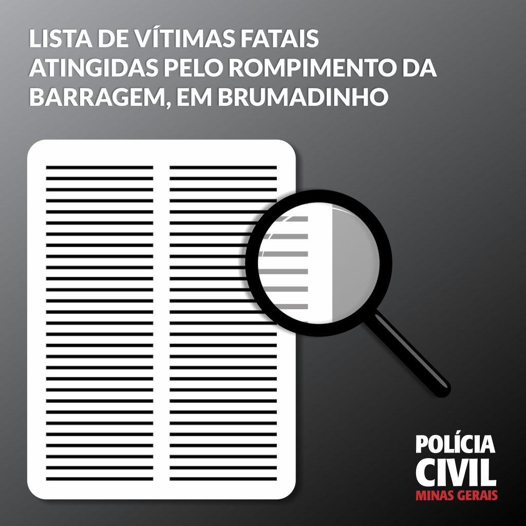 Lista de nomes. Polícia Civil atualiza relação de vítimas de Brumadinho. 201 identificadas