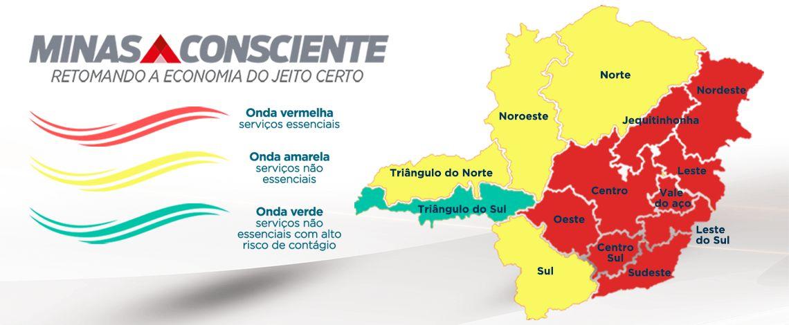 Mais duas regiões do Estado regridem para a onda vermelha do Minas Consciente. Saiba como estão as regiões e o que pode ou não funcionar!