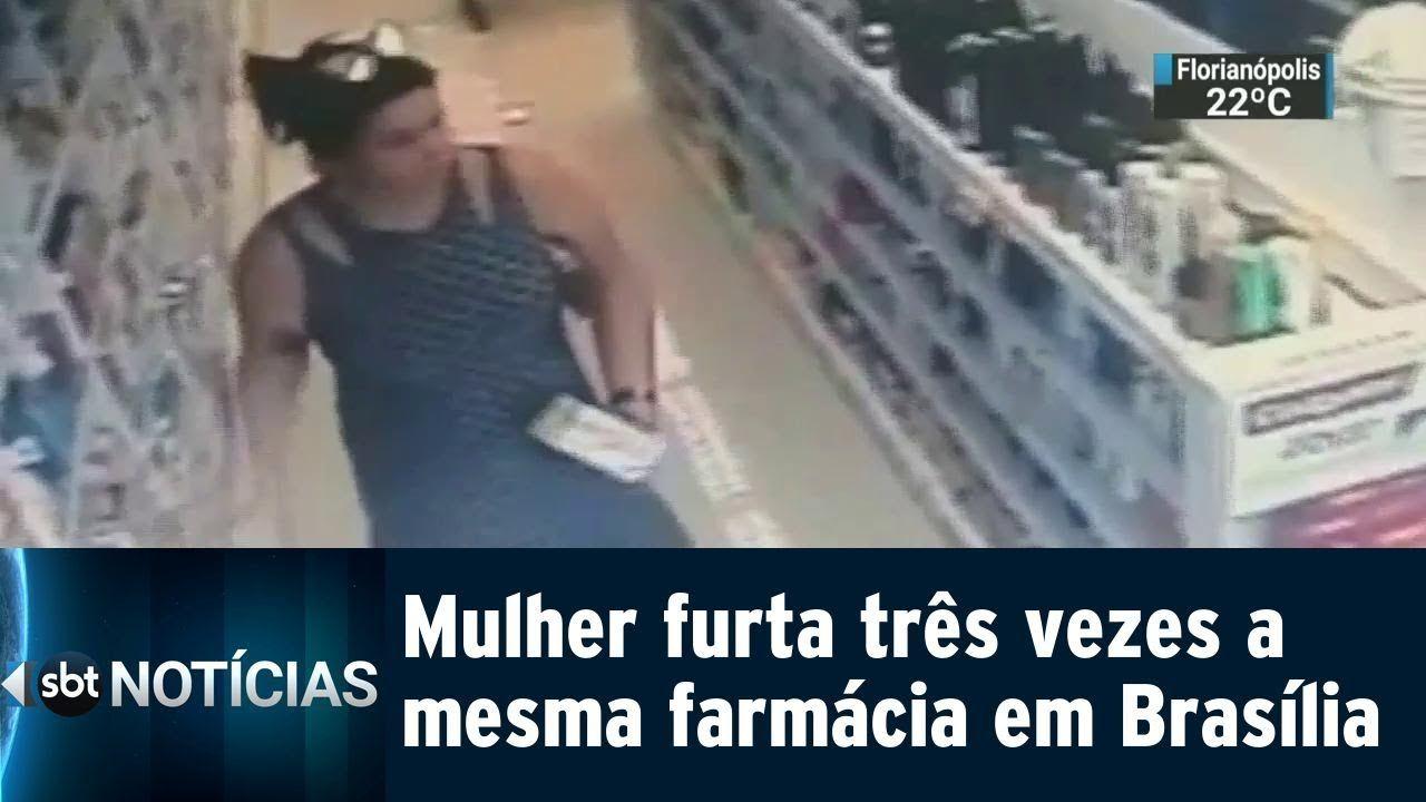NO MEIO DAS PERNAS! Mulher furta três vezes a mesma farmácia em Brasília