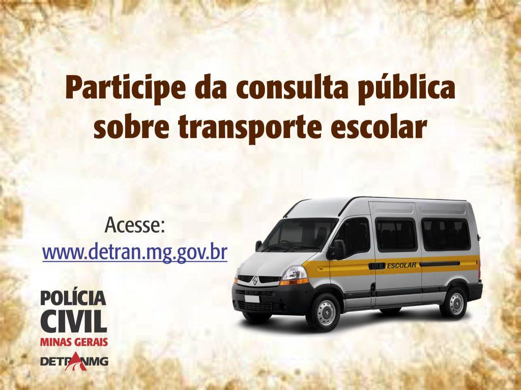 Polícia Civil de MG abre consulta pública sobre transporte escolar. Saiba como OPINAR!